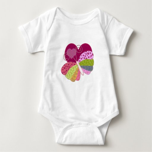 Patchwork Butterfly Heart Baby Bodysuit