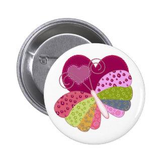 Patchwork Butterfly Heart Button
