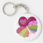 Patchwork Butterfly Heart Keychain