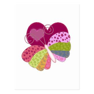Patchwork Butterfly Heart Postcard
