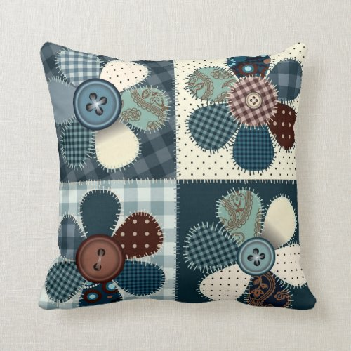Patchwork Button Flowers Throw Pillow