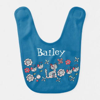 Patchwork Cat and Flowers Customized Bib