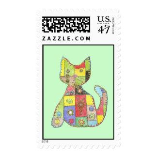 Patchwork Cat Postage Stamp