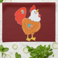Patchwork Chicken Hand Towels