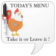 Patchwork Chicken Menu Message Board Dry-Erase Whiteboards