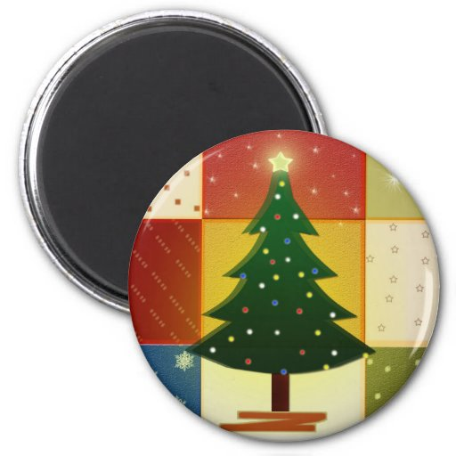 Patchwork Christmas tree 2 Inch Round Magnet