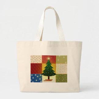 Patchwork Christmas tree Jumbo Tote Bag