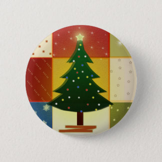 Patchwork Christmas tree Button