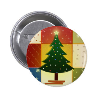 Patchwork Christmas tree 2 Inch Round Button