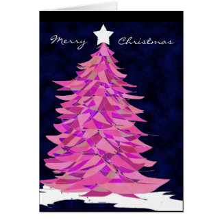 Patchwork Christmas Tree in Pink Card