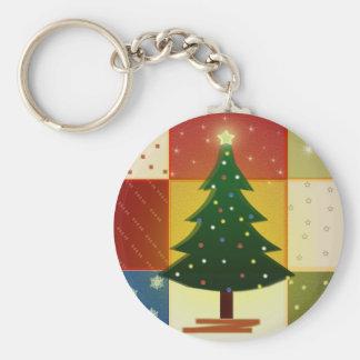 Patchwork Christmas tree Basic Round Button Keychain
