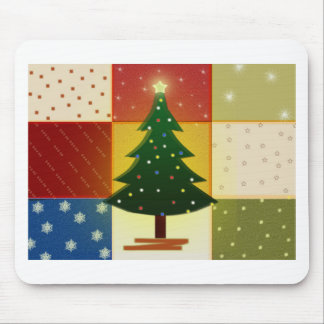 Patchwork Christmas tree Mouse Pad