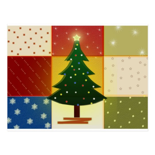 Patchwork Christmas tree Postcard
