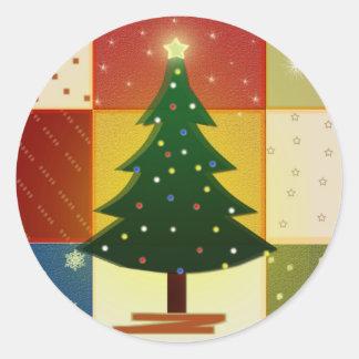 Patchwork Christmas tree Classic Round Sticker