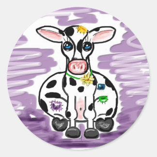 Patchwork cow sticker