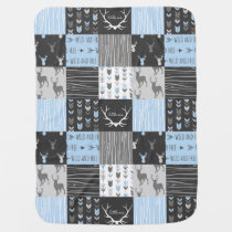 Patchwork Deer Baby Blanket - Blue, Grey, And Blac
