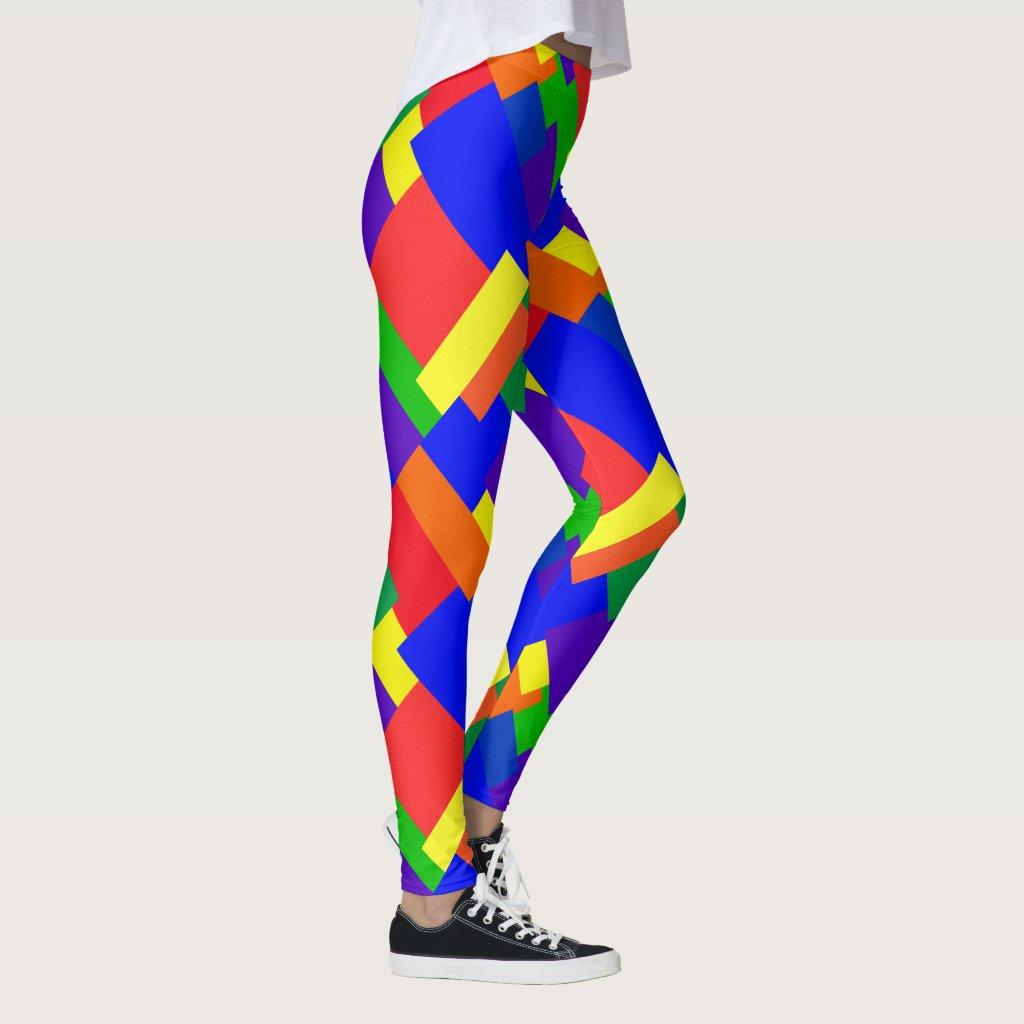 Patchwork Design Rainbow Colors Leggings
