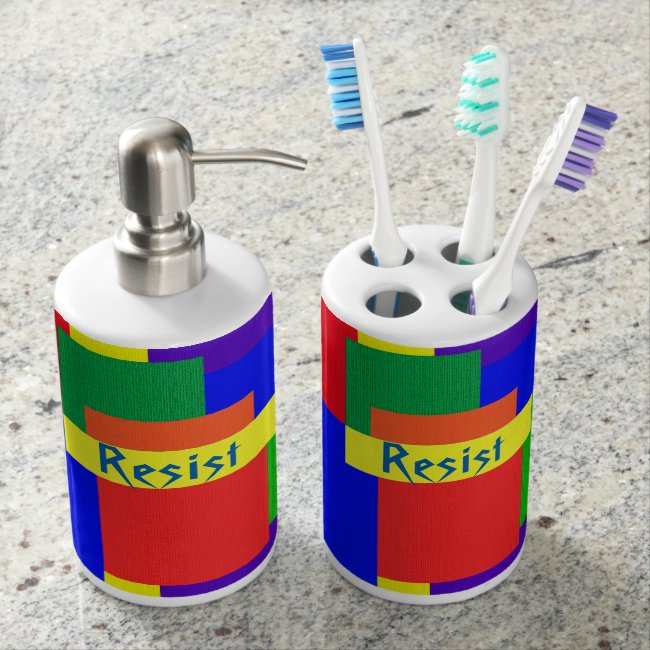 Patchwork Design Rainbow Resist Bathroom Set