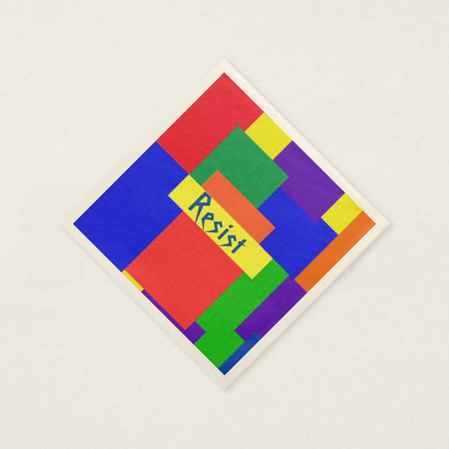 Patchwork Design Rainbow Resist Paper Napkins
