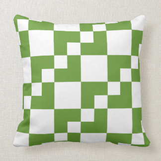 Patchwork Domino - Avocado Green and White Throw Pillow