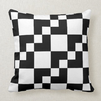 Patchwork Domino - Black and White Throw Pillow