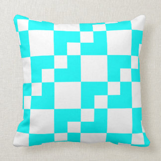 Patchwork Domino - Cyan and White Throw Pillow