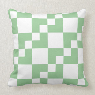 Patchwork Domino - Faded Green and White Throw Pillow