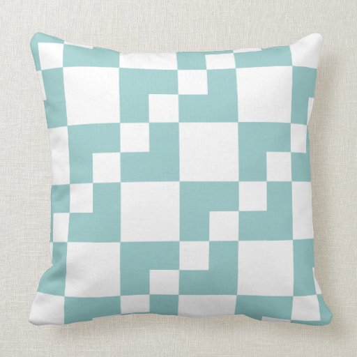 Patchwork Domino - Light Blue Green and White Throw Pillow Zazzle