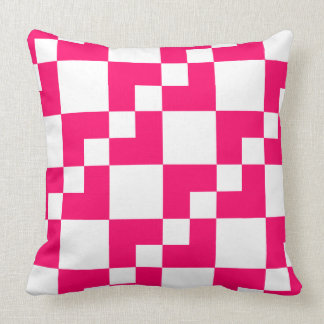 Patchwork Domino - Neon Red and White Throw Pillow