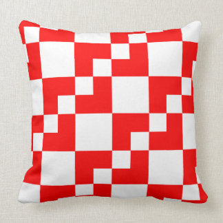 Patchwork Domino - Red and White Throw Pillow