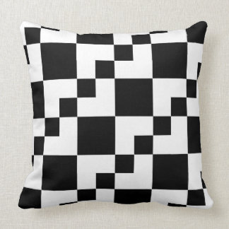Patchwork Domino - White on Black Throw Pillow