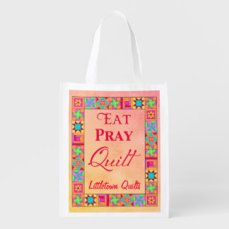 Patchwork Eat Pray Quilt Business Promotion Reusable Grocery Bag