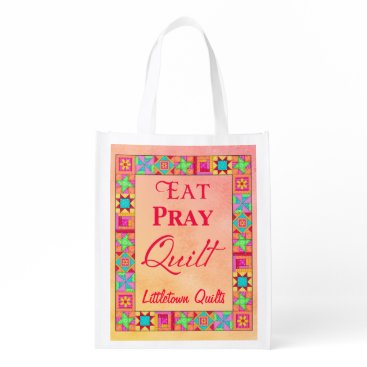 Professional Business Patchwork Eat Pray Quilt Business Promotion Reusable Grocery Bag