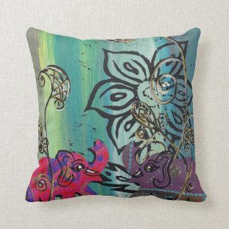 Patchwork Elephants Cushion Throw Pillow