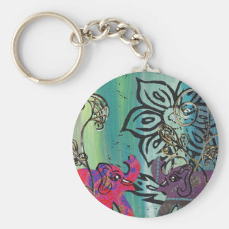 Patchwork Elephants keychain