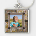 Patchwork Enthusiast Photo Frame Silver-Colored Square Keychain
