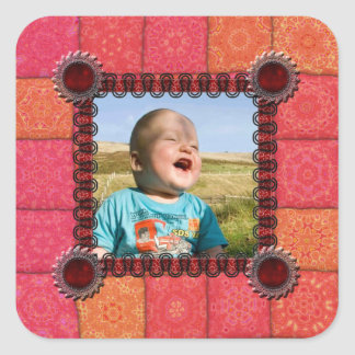 Patchwork Enthusiast Photo Frame Square Sticker