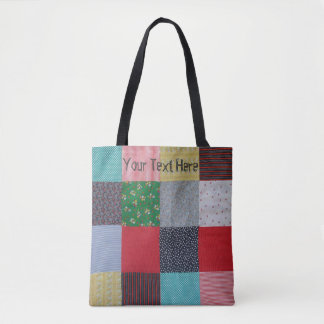 patchwork fabric colorful design vintage style tote bag