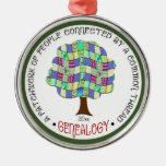 Patchwork Family Tree Genealogy Gift Elegant Metal Ornament