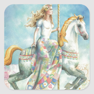 Patchwork, Fantasy Carousel by Scot Howden Square Sticker