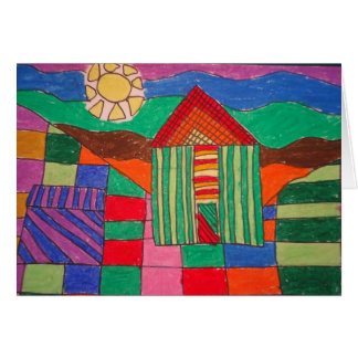 Patchwork Farm Oil Pastels and Pen Greeting Card