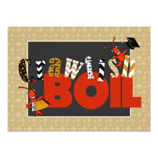 Patchwork Fleur de Lis Crawfish Boil Graduation Card