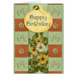 Patchwork Floral Birthday Greeting Card