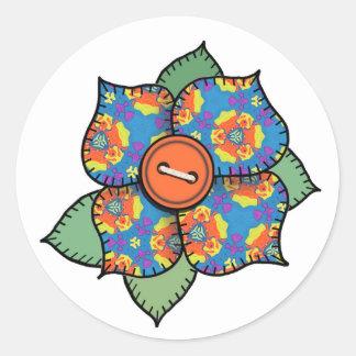 Patchwork Flower - 002 Classic Round Sticker