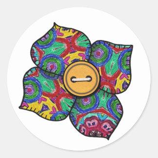 Patchwork Flower - 21 Classic Round Sticker