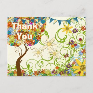 Patchwork Flower Bunting Tree Thank You Postcard zazzle_postcard