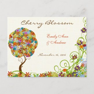 Patchwork Flower Love Tree Thank You Postcard postcard