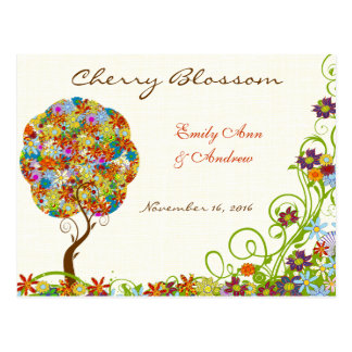 Patchwork Flower Love Tree Thank You PostCard