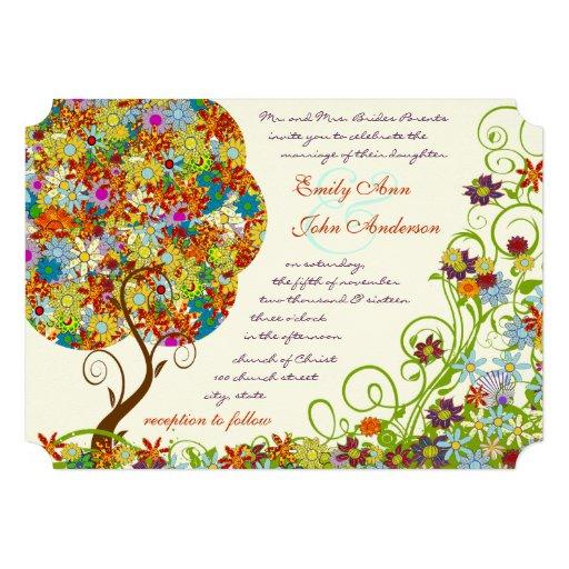 Patchwork Flower Tree Wedding Invitations