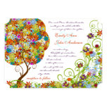 "Patchwork Flower Tree Wedding Invitations 5"" X 7"" Invitation Card"